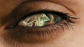 Osservi lo zoom nell'iride con polvere neurale astratta illustrazione di stock