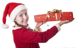 Osservi quanto grande è il mio regalo di Natale! Fotografie Stock