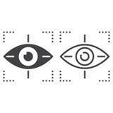 Osservi seguendo il segno di vettore della linea icona, del profilo e del solido, lineare Immagine Stock