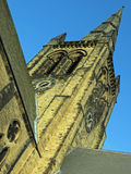 Ossett Church Spire. Looking up at the Church Spire in Ossett nr Wakefield West Yorkshire Stock Photography
