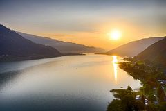 Ossiacher See in Kärnten. Scenic summertime panorama of Lake Ossiach. In Carinthia. Famous touristic area close to Villach in the south of Austria stock image