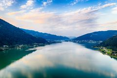 Ossiacher See in Kärnten. Scenic summertime panorama of Lake Ossiach. In Carinthia. Famous touristic area close to Villach in the south of Austria stock photography