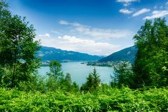 Ossiacher See in Kärnten. Scenic summertime panorama of Lake Ossiach. In Carinthia. Famous touristic area close to Villach in the south of Austria royalty free stock photography