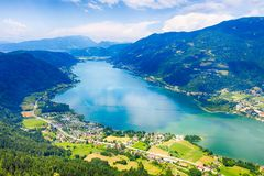 Ossiacher See in Kärnten. Scenic summertime panorama of Lake Ossiach. In Carinthia. Famous touristic area close to Villach in the south of Austria royalty free stock photos