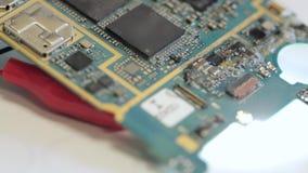 Ossidazione e corrosione di microcircuito in caso di ingresso dell'acqua stock footage