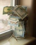 Ossinho da sorte do frasco do dinheiro Imagem de Stock