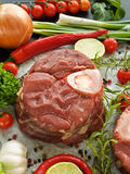 Osso buco. Ingridients for Osso Buco (braised veal shank). Viewed from above Stock Photo