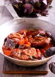 Osso buco braised veal shank with vegetables Royalty Free Stock Photos