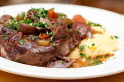 Osso buco veal shank. Braised veal shank, osso buco or bucco homemade Royalty Free Stock Photos