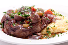 Osso buco veal shank. Braised veal shank, osso buco or bucco homemade Royalty Free Stock Images