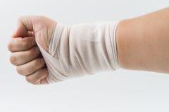 Osso de mão quebrado do acidente com tala do braço Fotografia de Stock Royalty Free