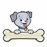 Osso del cucciolo del cane del fumetto Fotografie Stock Libere da Diritti