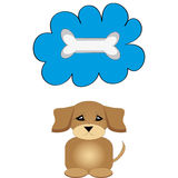 Osso di cane con il cucciolo su fondo bianco Fotografie Stock
