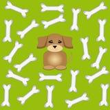 Osso di cane con il cucciolo su fondo verde Fotografia Stock Libera da Diritti