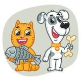 Osso di Cat Holding Fish Dog Holding Immagine Stock Libera da Diritti