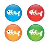 Osso di pesce, insieme di vetro di scheletro dell'icona del bottone del pesce Fotografie Stock Libere da Diritti