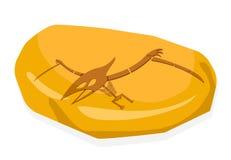 Osso di Pterosaurs in fossile ambrato, sul vettore bianco illustrazione di stock