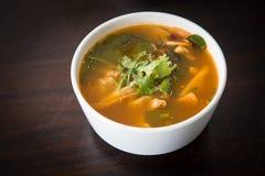 Osso quente e picante da carne de porco com tamarindo e sopa tailandesa das ervas na bacia fotografia de stock