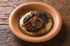 Ossobuco with polenta. Gourmet food Royalty Free Stock Photos