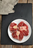 Ossobuco veal shanks. Three cuts of Ossobuco veal shanks Stock Photos