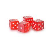 Ossos de jogo transparentes vermelhos Imagens de Stock Royalty Free