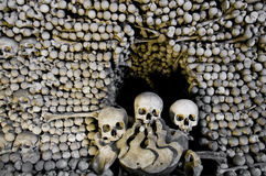 The ossuary. A picture of Human skulls and bones. The Ossuary in Sedlec, Kutna Hora, Czech Republic Stock Image