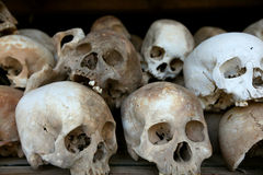 Ossuary in Cambodia, war burial ground with human Stock Photos