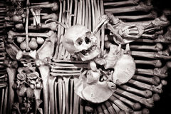 Ossuary in Sedlec, Kutna Hora. UNESCO, black and white stock photography