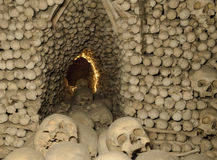 Ossuary. Stacked skulls and bones in the church (ossuary Royalty Free Stock Images