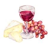 Ost-, druva- och rött vinexponeringsglas akvarell royaltyfri illustrationer