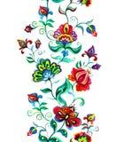 Ost- europäischer Blumendekor - dekorative Blumen am dunklen Hintergrund Nahtloser Blumenrand Aquarellstreifen Lizenzfreie Stockfotos