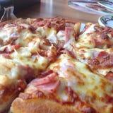 ost för pizzahawaii kött och bra smak Royaltyfria Foton