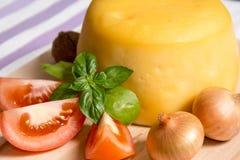 Ost med löken, ny tomatoe och mintkaramellen på trä trenchen Arkivfoton