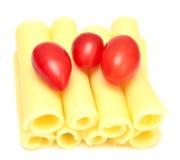 Ost och tomater Arkivfoton
