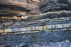 Ost-Quantoxhead-Strand in Somerset Die Kalksteinpflasterungen datieren zur Juraära und sind ein Paradies für versteinerte Jäger lizenzfreies stockbild