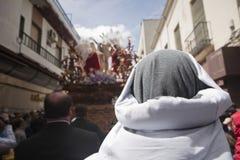 Ostalero durante la processione della settimana santa fotografia stock libera da diritti