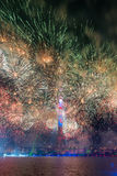 Ostankino Άνοιγμα του διεθνούς φεστιβάλ ο κύκλος του φωτός Στοκ Εικόνες