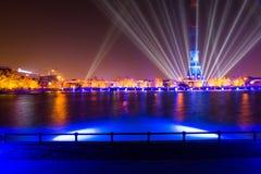 Ostankino Otwarcie Międzynarodowy festiwal okrąg światło Fotografia Royalty Free