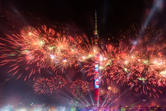 Ostankino Otwarcie Międzynarodowy festiwal okrąg światło Obraz Royalty Free