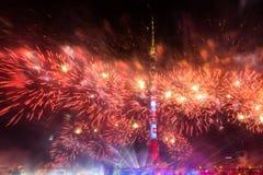 Ostankino Otwarcie Międzynarodowy festiwal okrąg światło Zdjęcia Stock