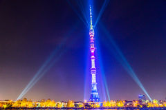 Ostankino Otwarcie Międzynarodowy festiwal okrąg światło Obrazy Stock