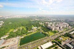 Ostankino park and Ostankinskiy pond at summer day Royalty Free Stock Photos