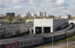 Ostankino railway station and depot stock photos