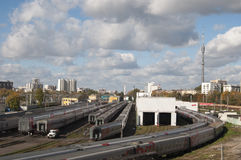 Ostankino railway station and depot stock photo