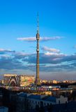 Ostankino Tele Tower evening Royalty Free Stock Image