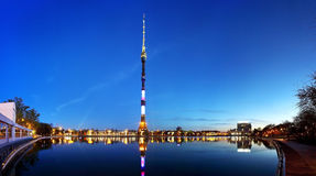 Ostankino tower. Evening panoramic scene of Ostankino television tower with the lake Stock Images