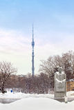Ostankino tower and sculpture Royalty Free Stock Photography