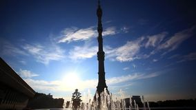 Ostankino TV tower in Moscow. Fountain on stock footage