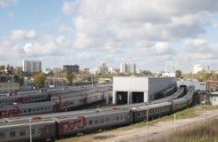 Ostankino zajezdnia i stacja kolejowa Fotografia Stock