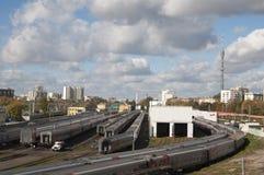 Ostankino zajezdnia i stacja kolejowa Zdjęcie Stock